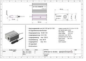 Spannungswandler DC//DC von 24 V auf 12 V; SPW 24-12V 7A DC//DC