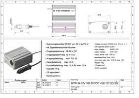 Spannungswandler DC//DC von 24 V auf 12 V Dauerlast 10A